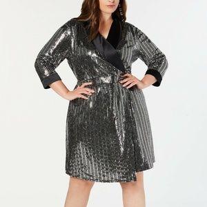 INC 1X Silver Mirror Ball Blazer Mini Dress 11H43